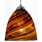 Elan FJ Mini Pendant - Satin Nickel / Spirale Orange
