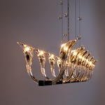 Chill Out Linear Suspension with Crystal Balls - Satin Brass / Crystal