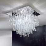 AVIR Tiered Semi Flush Ceiling Light - Polished Steel / Crystal