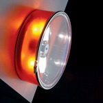 Box Round Wall Sconce or Ceiling Flush Mount - Orange / Clear