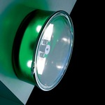 Box Round Wall Sconce or Ceiling Flush Mount - Green / Clear