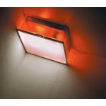 Box Square Frost Diffuser Wall or Ceiling Light - Chrome / Orange