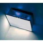 Box Square Frost Diffuser Wall or Ceiling Light - Chrome / Blue