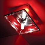 Box Square Ceiling Flush Mount or Wall Sconce - Red / Clear