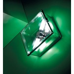 Box Square Ceiling Flush Mount or Wall Sconce - Green / Clear