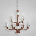 Pella 12 Light Chandelier - Chrome / Brown