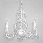 Fantasia 3 Light Chandelier - White / Clear Crystal
