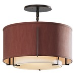 Exos Round Double Shade Semi Flush Ceiling Light - Dark Smoke / Terra Suede/Natural Linen Inner