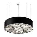 Spiro Fluorescent Pendant - Black / Grey Wood