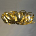 Montone Round Chandelier - Total Brass /