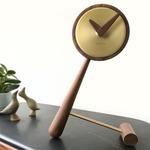 Mini Puntero Table Clock - Polished Brass / Walnut