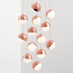 Ohm Round Multi Light Pendant - Polished Copper / Matte Opal