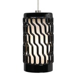 Liza Grande Pendant - Satin Nickel / Black