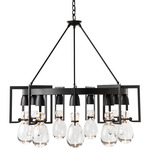 Apothecary Circular Chandelier - Black / Clear