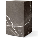 Plinth Tall Marble Table - Brown Grey