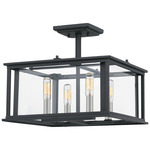 Citadel Semi Flush Ceiling Light - Earth Black / Clear