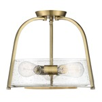 Dash Semi Flush Ceiling Light - Warm Brass / Clear Seeded