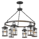 Lakehouse Outdoor Chandelier - Aged Zinc / Clear Seedy