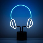 Headphones Desk Lamp - Black / Blue