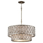 Lucia 2 Tier Pendant - Burnished Silver / Crystal