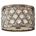 Lucia Ceiling Light Fixture - Burnished Silver / Crystal