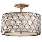 Lucia Semi Flush Ceiling Light - Burnished Silver / Beige