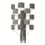 13 Light Wall Sconce - White / Black Nickel Weave