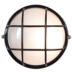 Nauticus Round Outdoor Bulkhead Wall / Ceiling Light - Black / Frosted