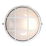 Nauticus Round Outdoor Bulkhead Wall / Ceiling Light - White / Frosted