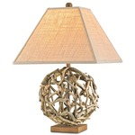 Driftwood Orb Table Lamp - Natural / Putty Burlap