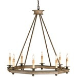 Bonfire Chandelier - Antique Rust / Washed Wood
