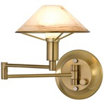 Aging Eye Glass Shade Swing Arm Wall Light - Antique Brass / Alabaster Brown