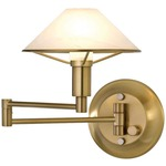 Aging Eye Glass Shade Swing Arm Wall Light - Antique Brass / Alabaster White