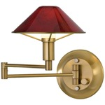 Aging Eye Glass Shade Swing Arm Wall Light - Antique Brass / Magma Red