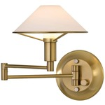 Aging Eye Glass Shade Swing Arm Wall Light - Antique Brass / True White