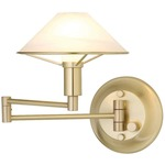 Aging Eye Glass Shade Swing Arm Wall Light - Brushed Brass / Alabaster White