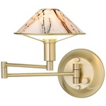 Aging Eye Glass Shade Swing Arm Wall Light - Brushed Brass / Marble