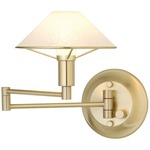 Aging Eye Glass Shade Swing Arm Wall Light - Brushed Brass / Satin White