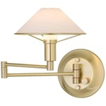 Aging Eye Glass Shade Swing Arm Wall Light - Brushed Brass / True White