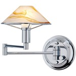 Aging Eye Glass Shade Swing Arm Wall Light - Chrome / Alabaster Brown
