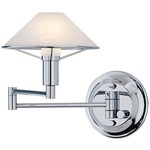 Aging Eye Glass Shade Swing Arm Wall Light - Chrome / Alabaster White
