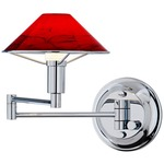 Aging Eye Glass Shade Swing Arm Wall Light - Chrome / Magma Red