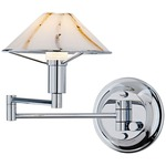 Aging Eye Glass Shade Swing Arm Wall Light - Chrome / Marble
