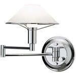 Aging Eye Glass Shade Swing Arm Wall Light - Chrome / Satin White