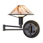Aging Eye Glass Shade Swing Arm Wall Light - Hand Brushed Old Bronze / Marble