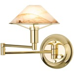Aging Eye Glass Shade Swing Arm Wall Light - Polished Brass / Alabaster Brown