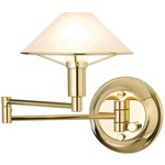 Aging Eye Glass Shade Swing Arm Wall Light - Polished Brass / Alabaster White