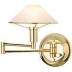 Aging Eye Glass Shade Swing Arm Wall Light - Polished Brass / Satin White