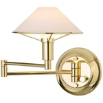 Aging Eye Glass Shade Swing Arm Wall Light - Polished Brass / True White