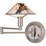 Aging Eye Glass Shade Swing Arm Wall Light - Satin Nickel / Marble